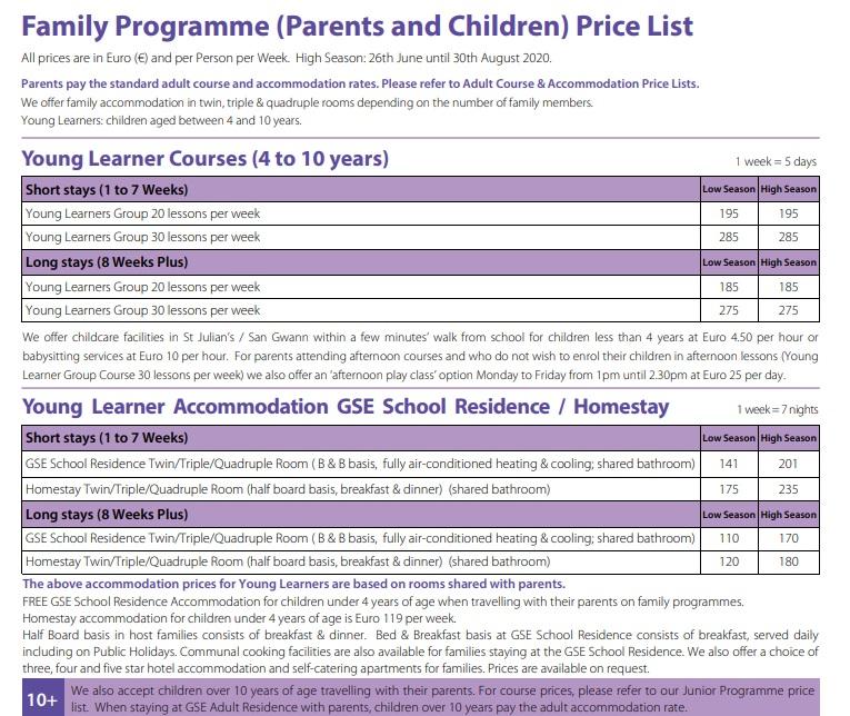 2020 Prezzi per bambini dai 4 ai 10 anni che frequentano corsi di inglese a Malta con genitori, programmi familiari scuola di inglese GSE