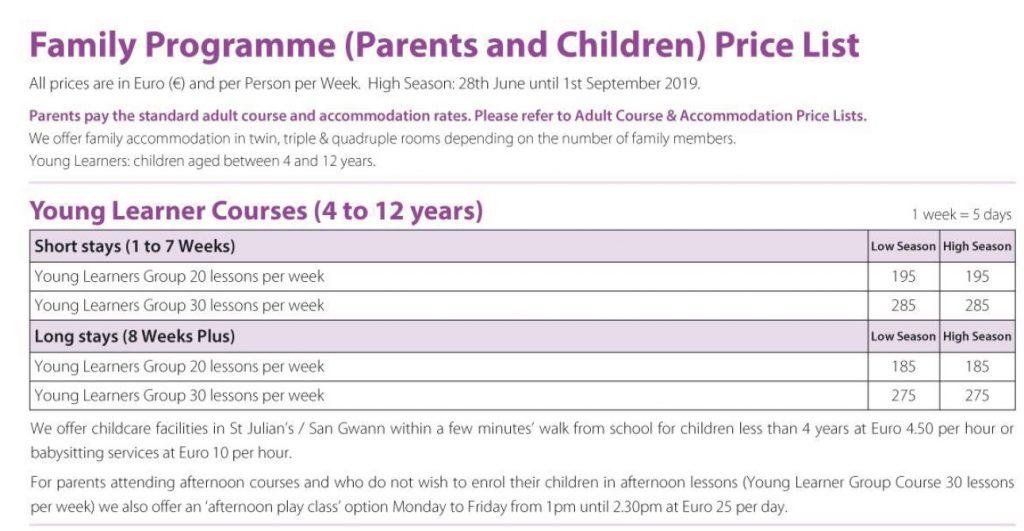 Programma famiglie (corsi d'inglese per genitori e figli 4 - 12 anni) corsi di inglese Malta bambini genitori