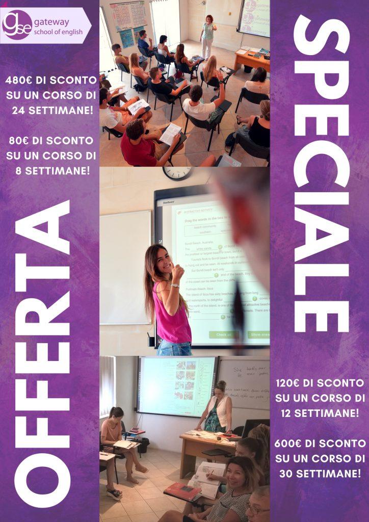 Offerta speciale corsi di inglese lungo termine gateway gse for Soggiorno studio malta