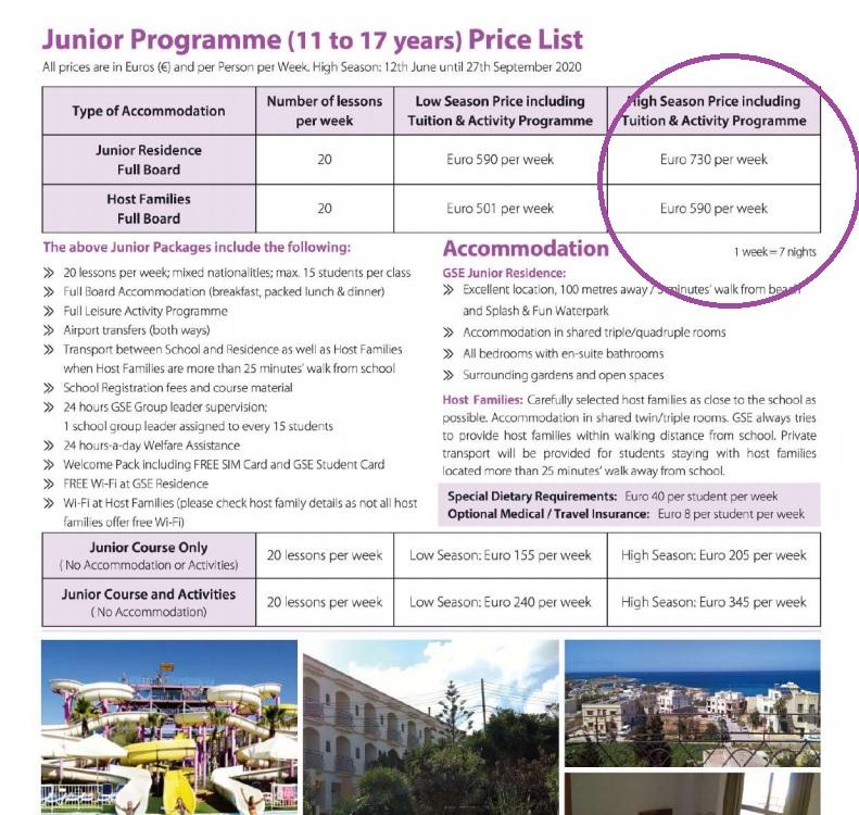 Prezzi estivi 2020 per i corsi di inglese per giovani studenti e adolescenti a St Julians Malta con attività per il tempo libero culturale e per il tempo libero Gateway School of English GSE