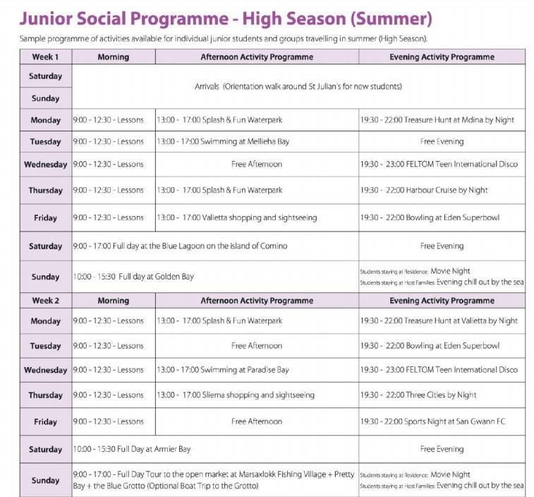 programma per il tempo libero per i corsi di inglese a Malta e vacanza studio per adolescenti e bambini GSE Malta